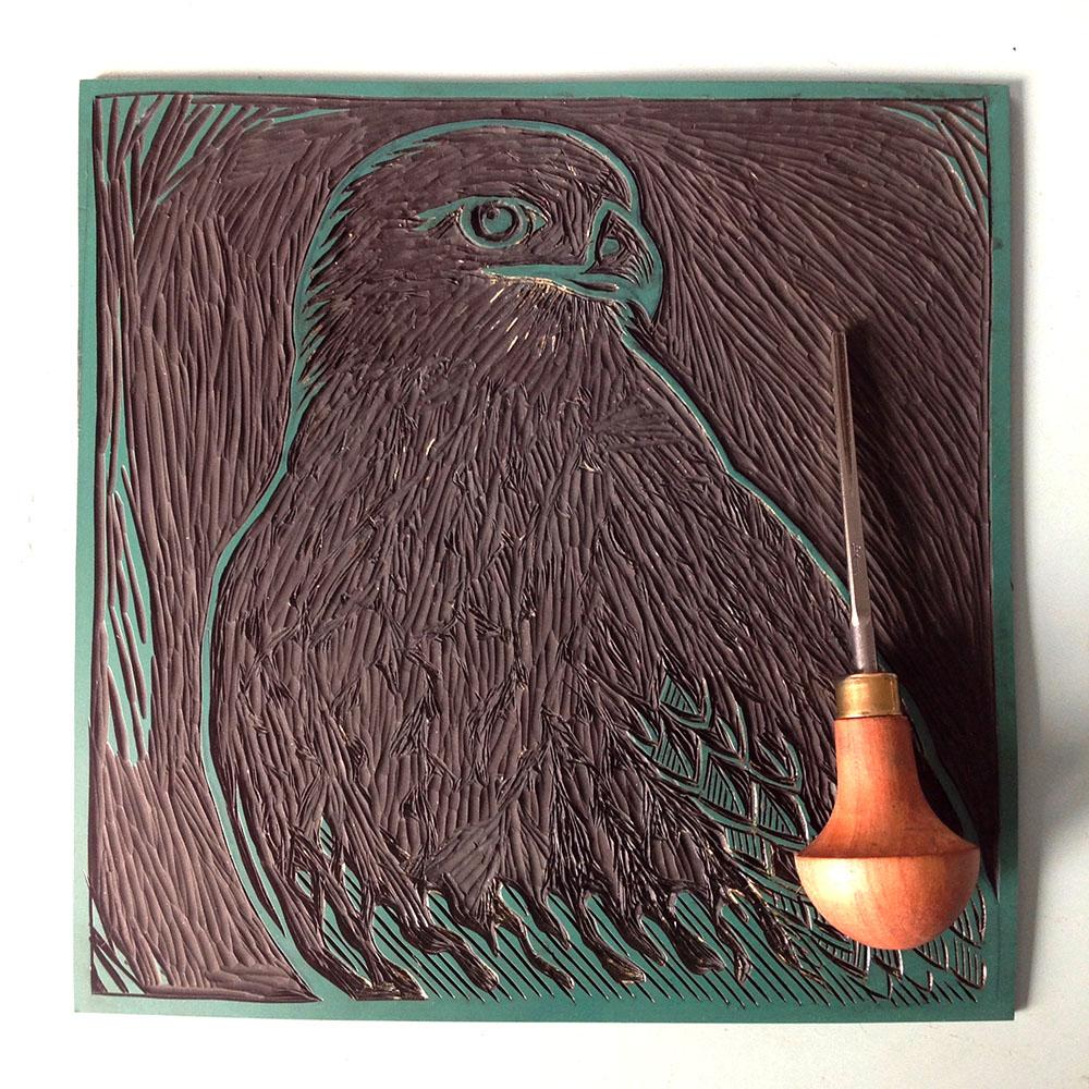Buzzard Handmade Linocut Print Bird Print Curlew Cottage Design